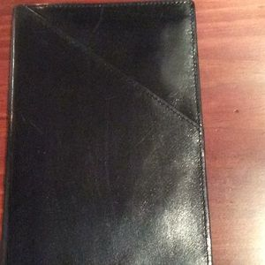 Black leather passport holder and wallet, new